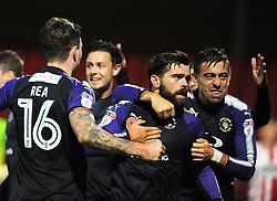 Elliot Lee of Luton Town celebrates his goal- Mandatory by-line: Nizaam Jones/JMP - 11/11/2017 - FOOTBALL - LCI Rail Stadium - Cheltenham, England - Cheltenham Town v Luton Town - Sky Bet League Two
