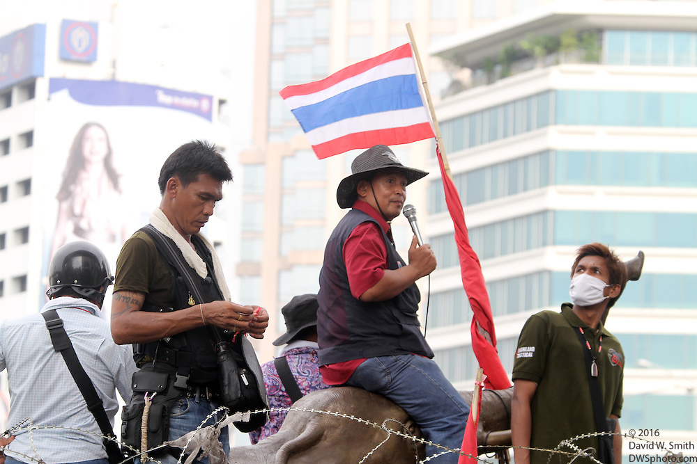 Protestors sit on an elephant statue in Lumpini Park during the Red Shirts anti-government protest in the Silom area of Bangkok.