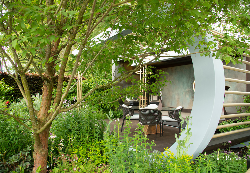 A relaxation area in the Morgan Stanley Garden at the RHS Chelsea Flower Show 2019.