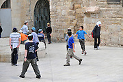 young religious Jewish Boys of six to ten years in the Jewish quarters old city of Jerusalem