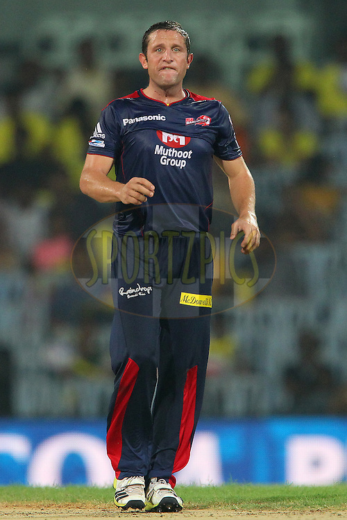Roelof van der Merwe reacts after an appeal for the wicket of Suresh Raina during match 64 of the Pepsi Indian Premier League between The Chennai Superkings and the Delhi Daredevils held at the MA Chidambaram Stadium in Chennai on the 14th May 2013..Photo by Ron Gaunt-IPL-SPORTZPICS   .. .Use of this image is subject to the terms and conditions as outlined by the BCCI. These terms can be found by following this link:..http://www.sportzpics.co.za/image/I0000SoRagM2cIEc