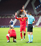 Refereee Sebastian Coltescu shows the red card to FYR Macedonia's Egzon Bejtulai during Scotland Under-21 v FYR Macedonia,  UEFA Under 21 championship qualifier  at Tynecastle, Edinburgh. Photo: David Young<br /> <br />  - © David Young - www.davidyoungphoto.co.uk - email: davidyoungphoto@gmail.com