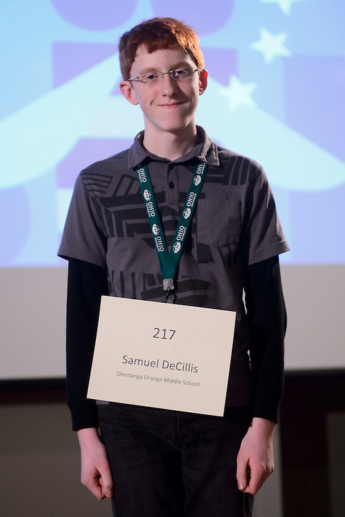 Samuel DeCillis of Olentangy Orange Middle School introduces himself during the Columbus Metro Regional Spelling Bee Regional Saturday, March 16, 2013. The Regional Spelling Bee was sponsored by Ohio University's Scripps College of Communication and held in Margaret M. Walter Hall on OU's main campus.