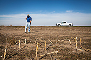 Mitchell Baalman tends to business on the phone while making the rounds on his 12,000-acre farm outside of Hoxie, Kan., on Thursday, Oct. 11, 2012. As historically dry conditions continue, farmers from South Dakota to the Texas panhandle rely on the Ogallala Aquifer, the largest underground aquifer in the United States, to irrigate crops. After decades of use, the falling water level ? accelerated by historic drought conditions over the last two years ? is putting pressure on farmers to ease usage or risk becoming the last generation to grow crops on the land. Farmers like Mitchell Baalman and Brett Oelke (not pictured), are part of a farming community in in Sheridan County, Kansas, an agricultural hub in western Kansas, who have agreed to cut back on water use for crop irrigation so that their children and future generations can continue to farm and sustain themselves on the High Plains.