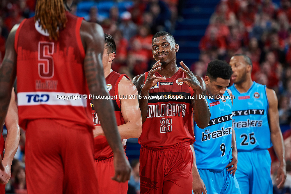 Casey Prather of the Perth Wildcats rues a missed chance during the NBL Match between the Perth Wildcats and the Skycity Breakers from Perth Arena - Friday 14th October 2016 in Perth, Australia. © Copyright Photo by Daniel Carson / www.photosport.nz)