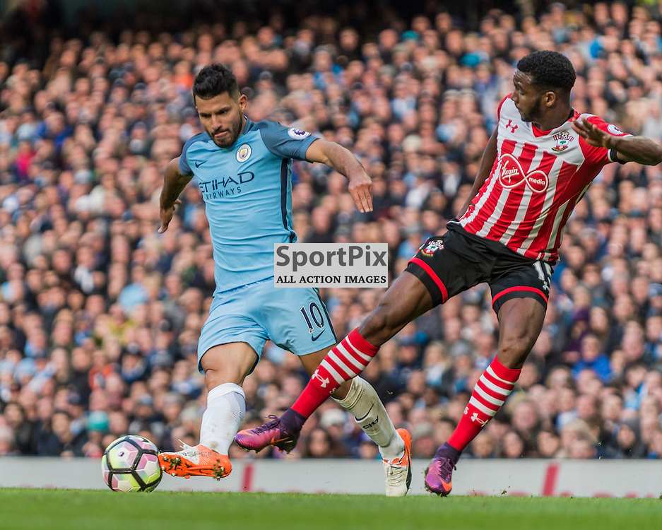 Manchester City forward Sergio Aguero (10) Southampton defender Cuco Martina (15) challenge for a loose ball in the Premier League match between Manchester City and Southampton<br /> <br /> (c) John Baguley | SportPix.org.uk