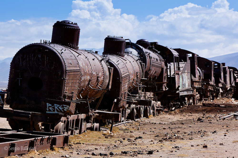 Abandoned and rusting trains litter the Train Graveyard in the town of Uyuni, heralding a by-gone era of travel using steam locomotives.