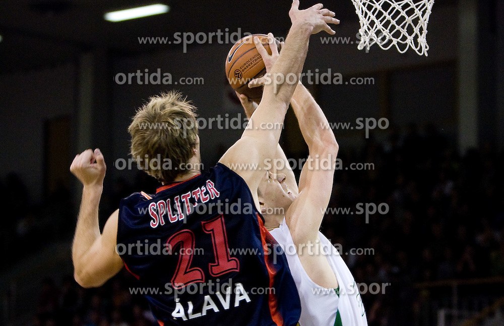 Tiago Splitter of Caja Laboral Baskonia vs Gasper Vidmar (13) of Olimpija at Group C of Euroleague basketball match between KK Union Olimpija, Slovenia and Caja Laboral, Spain, on November 5, 2009, in Arena Tivoli, Ljubljana, Slovenia.  (Photo by Vid Ponikvar / Sportida)