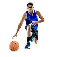 one basketball player man Isolated on white background