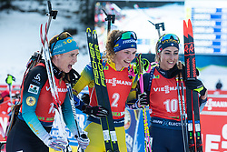 Anais Bescond (FRA), Lisa Vittozzi (ITA), Hanna Oeberg (SWE) celebrating after the Mass Start Women 12,5 km at day 4 of IBU Biathlon World Cup 2019/20 Pokljuka, on January 23, 2020 in Rudno polje, Pokljuka, Pokljuka, Slovenia. Photo by Peter Podobnik / Sportida