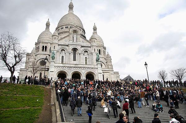 Frankrijk, Parijs, 28-3-2010De kerk, kathedraal Sacre Coeur in montmartre. Exterieur.Foto: Flip Franssen/Hollandse Hoogte