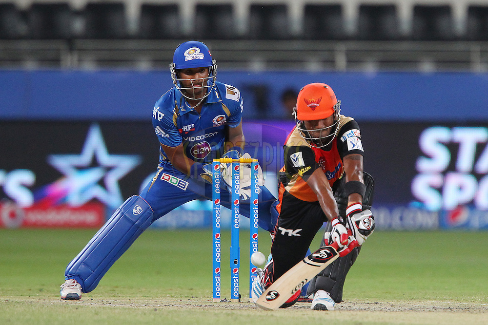 K.L Rahul of the Sunrisers Hyderabad plays a reverse sweep during match 20 of the Pepsi Indian Premier League Season 2014 between the Mumbai Indians and the Sunrisers Hyderabad held at the Dubai International Stadium, Dubai, United Arab Emirates on the 30th April 2014<br /> <br /> Photo by Ron Gaunt / IPL / SPORTZPICS