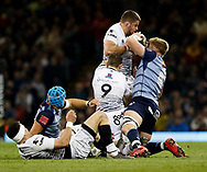Ospreys' Nicky Smith under pressure from Cardiff Blues' Macauley Cook<br /> <br /> Photographer Simon King/Replay Images<br /> <br /> Guinness PRO14 Round 21 - Cardiff Blues v Ospreys - Saturday 28th April 2018 - Principality Stadium - Cardiff<br /> <br /> World Copyright &copy; Replay Images . All rights reserved. info@replayimages.co.uk - http://replayimages.co.uk
