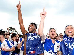 Ellis Harrison, Lee Mansell and James Clarke of Bristol Rovers celebrate promotion from Sky Bet League 2 up to Sky Bet League 1  - Mandatory by-line: Joe Meredith/JMP - 07/05/2016 - FOOTBALL - Memorial Stadium - Bristol, England - Bristol Rovers v Dagenham and Redbridge - Sky Bet League Two