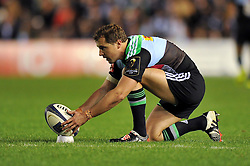 Nick Evans of Harlequins lines the ball up for a shot at the posts - Photo mandatory by-line: Patrick Khachfe/JMP - Mobile: 07966 386802 17/10/2014 - SPORT - RUGBY UNION - London - Twickenham Stoop - Harlequins v Castres Olympique - European Rugby Champions Cup