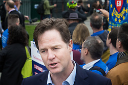 London, March 29th 2017. Open Britain protesters demonstrate outside Parliament as Prime Minister Theresa May triggers Article 50, beginning formal divorce proceedings as Britain leaves the European Union. The protesters demand that those in charge of the brexit negotiations are held to account:. PICTURED: Former Deputy Prime Minister and leading anti-Brexit voice Nick Clegg talks to the media. ©Paul Davey<br /> FOR LICENCING CONTACT: Paul Davey +44 (0) 7966 016 296 paul@pauldaveycreative.co.uk