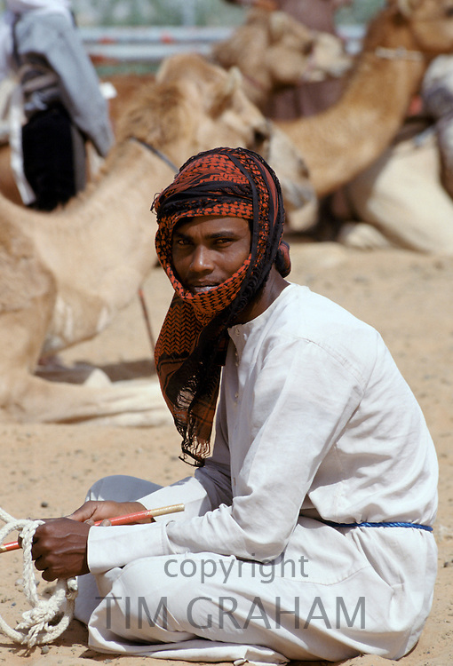 Camel herder, Bedouin, at Al Ain in Abu Dhabi, United Arab Emirates