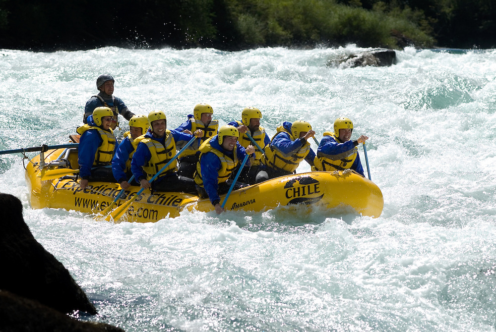 Whitewater rafting on one of the many rapids of the Futaleufu River, Chile.