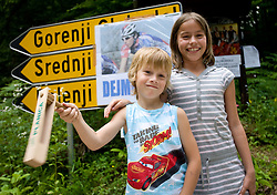 Children spectator at Slovenian National Championships in Road cycling, 178 km, on June 28 2009, in Mirna Pec, Slovenia. (Photo by Vid Ponikvar / Sportida)