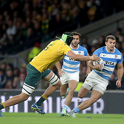 Ramiro Moyano of Argentina is tackled by Adam Coleman of Australia during the The Rugby Championship match between Argentina and Australia at Twickenham Stadium, Twickenham - 08/10/2016<br /> ©Matthew Impey / Wired Photos<br /> Picture by Matt Impey +44 7789 130347