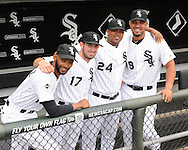 CHICAGO - APRIL 28:  Cuban born players (from left to right) Alexei Ramirez #10,A drian Nieto #17, Dayan Vicieo #24 and Jose Abreu #79 of the Chicago White Sox pose for a portrait prior to the game against the Tampa Bay Rays on April 29, 2014 at U.S. Cellular Field in Chicago, Illinois.  (Photo by Ron Vesely)   Subject: Adrian Nieto; Alexei Ramirez; Jose Abreu; Dayan Viciedo