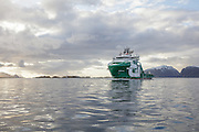 Bourbon Arctic on its first trip after delivery from Vard Brattvåg, heading to Mjølstadneset nearby Fosnavåg, Norway, where Bourbon Offshore Norway office is located | Bourbon Arctic på sin første ofisielle tur etter overlevering fra Verftet på Vard Brattvåg. Her er hun på vei til Mjølstadneset der Bourbon Offshore Norway har kontor.