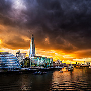 The Shard and More London Place with a Dramatic Sunset