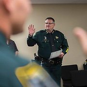 TITUSVILLE, FL-NOVEMBER 1, 2017: Brevard County Sheriff, Wayne Ivey swears in several officers at the Brevard County Sheriff's Office on November 1, 2017 in Titusville, Florida. Sheriff Ivey is one of many sheriffs across the nation becoming outspoken on their views in support of Trump and his agenda. (Photo by Willie J. Allen Jr. for The Washington Post)
