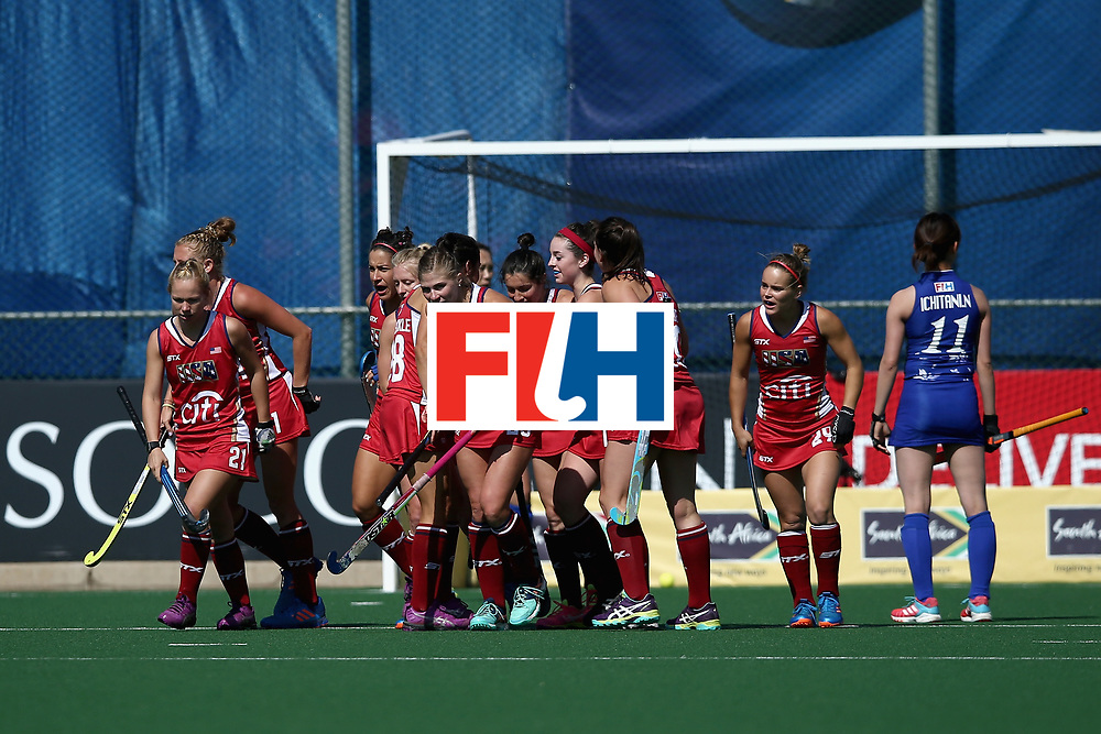 JOHANNESBURG, SOUTH AFRICA - JULY 18: Michelle Vittese of the United States celebrates scoring her sides first goal with her team mates during the Quarter Final match between the United States and Japan during the FIH Hockey World League - Women's Semi Finals on July 18, 2017 in Johannesburg, South Africa.  (Photo by Jan Kruger/Getty Images for FIH)