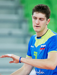 Matevz Kamnik #7 of Slovenia during qualifications match of FIVB Men's Volleyball World Championship 2014 between National teams of Slovenia and Israel in pool B on May 25, 2013 in Arena Stozice, Ljubljana, Slovenia. Slovenia defeated Hungary 3-0. (Photo By Vid Ponikvar / Sportida)