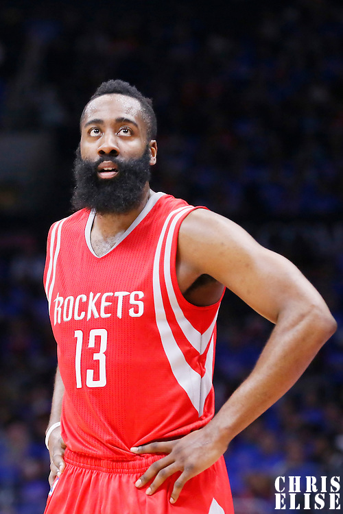 14 May 2015: Houston Rockets guard James Harden (13) rests during the Houston Rockets 119-107 victory over the Los Angeles Clippers, in game 6 of the Western Conference semifinals, at the Staples Center, Los Angeles, California, USA.