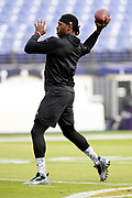 Baltimore Ravens quarterback Robert Griffin III (3) throws a pass during pregame warmups before the NFL week 11 regular season football game against the Cincinnati Bengals on Sunday, Nov. 18, 2018 in Baltimore. The Ravens won the game 24-21. (©Paul Anthony Spinelli)