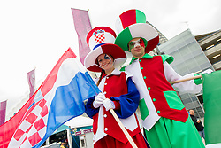Croatian and Italian performers prior to the UEFA EURO 2012 group C match between Italy and Croatia at Poznan City Stadium on June 14, 2012 in Poznan, Poland.  (Photo by Vid Ponikvar / Sportida.com)