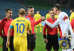 Referees Jure Praprotnik, Damir Skomina, Robert Vukan and players Senijad Ibričić of Domzale and Jasmin Handanovič of Maribor during football match before NK Maribor and NK Domzale in 17th Round of Prva liga Telekom Slovenije 2019/20, on November 9, 2019 in Ljudski vrt, Maribor, Slovenia. Photo by Milos Vujinovic / Sportida