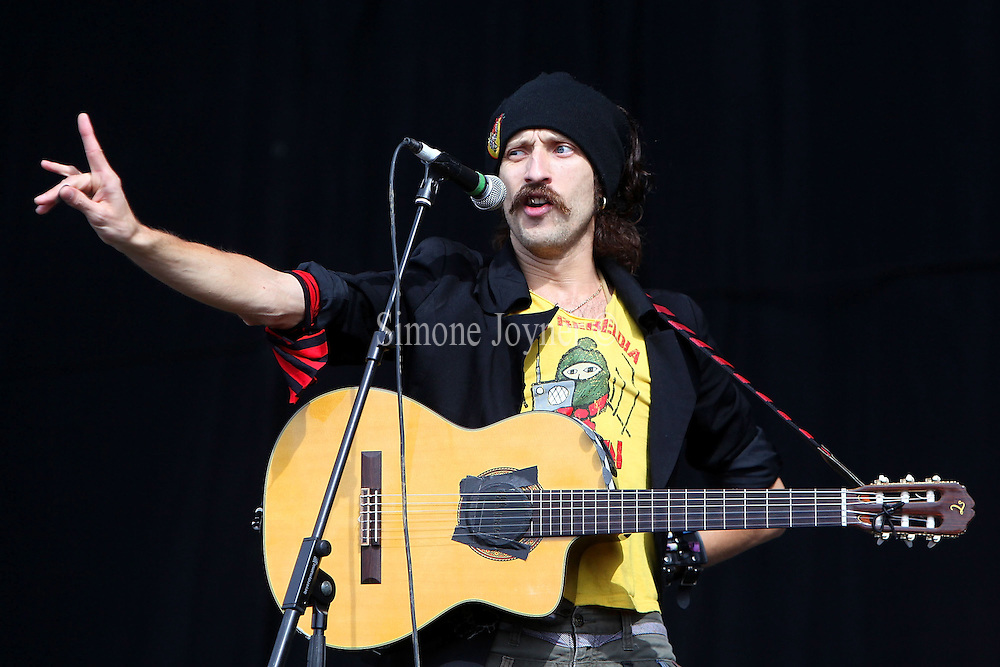 Eugene Hutz of Gogol Bordello performs live on the Main stage during day one of Reading Festival on August 27, 2010 in Reading, England.  (Photo by Simone Joyner)