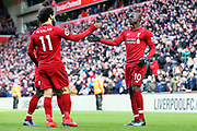 Liverpool forward Sadio Mane (10) celebrates his goal 4-2  during the Premier League match between Liverpool and Burnley at Anfield, Liverpool, England on 10 March 2019.