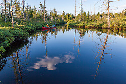 """Two men fly-fishing for brook trout from a canoe on the Cold Stream """"deadwater"""" above Upper Cold Stream Falls in Maine's Northern Forest. Johnson Mountain Township."""