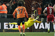 GOAL 2-2 Barnet goalkeeper Will Huffer (39) dives the wrong way for Brentford forward Neal Maupay (9) penalty during The FA Cup fourth round match between Barnet and Brentford at The Hive Stadium, London, England on 28 January 2019.