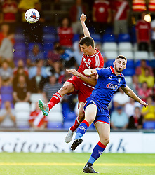 Daniel  Ayala of Middlesbrough challenges for a header - Mandatory byline: Matt McNulty/JMP - 07966386802 - 12/08/2015 - FOOTBALL - Boundary Park -Oldham,England - Oldham Athletic v Middlesbrough - Capital One Cup