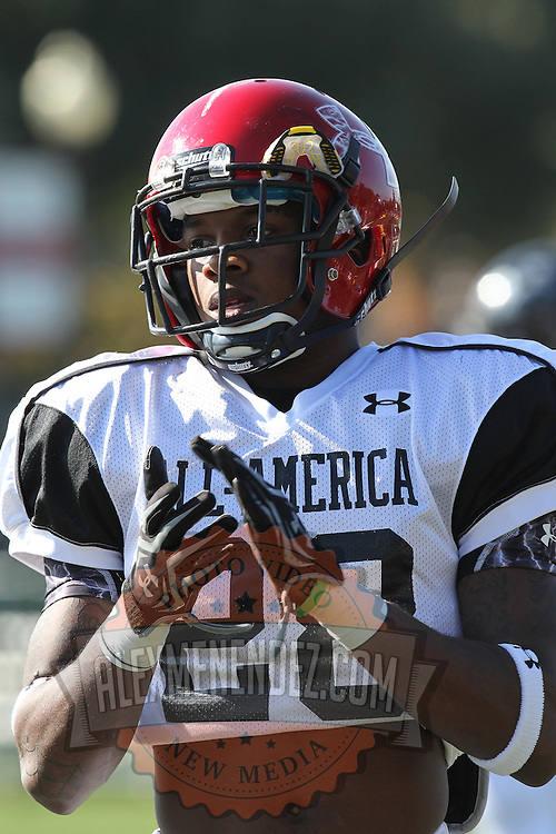 Danzel Williams during the practice session at the Walt Disney Wide World of Sports Complex in preparation for the Under Armour All-America high school football game on December 3, 2011 in Lake Buena Vista, Florida. (AP Photo/Alex Menendez)