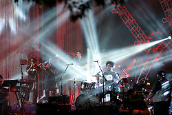 The spotlights are on drummer Ahmir Khalib Thompson (Questlove) of the Roots. (Bas Slabbers/for NewsWorks)