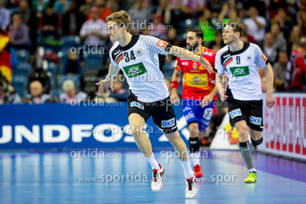 31.01.2016, Tauron Arena, Krakau, POL, EHF Euro 2016, Deutschland vs Spanien, Finale, im Bild Rune Dahmke (Nr 34, THW Kiel) und Tobias Reichmann (Nr 9, KS Vive Tauron Kielce/POL) // during the 2016 EHF Euro final match between Germany and Spain at the Tauron Arena in Krakau, Poland on 2016/01/31. EXPA Pictures &copy; 2016, PhotoCredit: EXPA/ Eibner-Pressefoto/ Koenig<br /> <br /> *****ATTENTION - OUT of GER*****