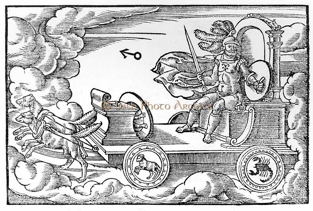 Mars (Greek Ares) Roman god of war. A male planet, hot and fiery. Those born under Mars had a choleric temperament. The planet's metal was iron, its season Summer, its day Tuesday and its night Saturday. From Solensis Aratus 'Phaenomena et Prognostica', Cologne, 1569, Woodcut