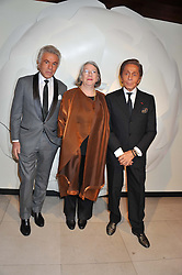 Left to right, GIANCARLO GIAMMETTI, GWYN MILES Director, Somerset House Trust and fashion designer VALENTINO at a private view of 'Valentino: Master Of Couture' at Somerset House, London on 28th November 2012.