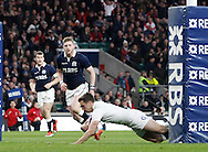 George Ford of England scores his 1st try during the RBS 6 Nations match at Twickenham Stadium, Twickenham<br /> Picture by Andrew Tobin/Focus Images Ltd +44 7710 761829<br /> 14/03/2015