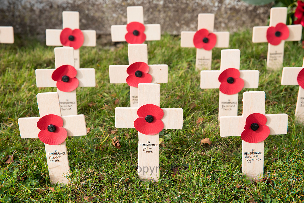 Remembrance crosses and poppies at war memorial for The Great War 1914-1918 - World War I and World War II 1939-1945 in the graveyard of St Mary's Church, Swinbrook commemorating those who died from the parish of Swinbrook and Widford, Oxfordshire, UK