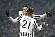 © Filippo Alfero<br /> Juventus-Torino, derby, Coppa Italia 2015/2016<br /> Torino, 16/12/2015<br /> sport calcio<br /> Nella foto: esultanza Alvaro Morata e Paulo Dybala dopo gol