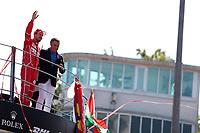 Monza - Formula 1 - Gran Premio d' Italia di Formula 1 - Nella foto: Sebastian Vettel sul podio saluta la folla