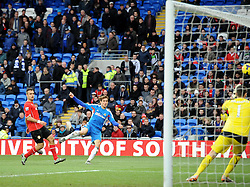 Hull City's Nikica Jelavic goes close with a volley - Photo mandatory by-line: Joe Meredith/JMP - Tel: Mobile: 07966 386802 22/02/2014 - SPORT - FOOTBALL - Cardiff - Cardiff City Stadium - Cardiff City v Hull City - Barclays Premier League