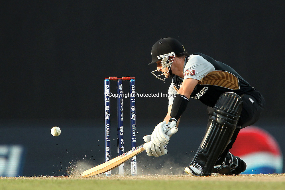 Nathan McCullum during the ICC World Twenty20 Super 8s match between England and New Zealand held at the  Pallekele Stadium in Kandy, Sri Lanka on the 29th September 2012<br /> <br /> Photo byRon Gaunt/SPORTZPICS/PHOTOSPORT